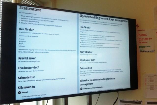 Eksempler på bruk av tjenestemalen på nettsidene til Oslo kommune