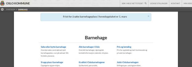 Skjermbilde som viser infovarsel i en blå tekst øverst på siden.