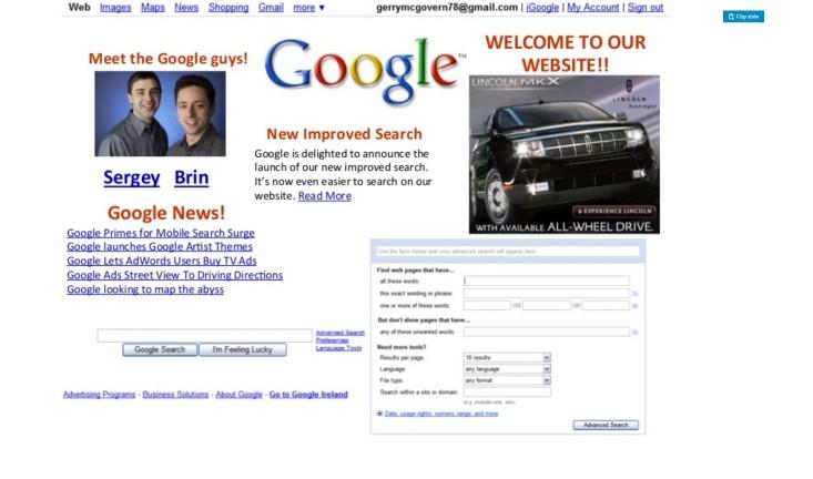 Slik kunne google sin forside sett ut