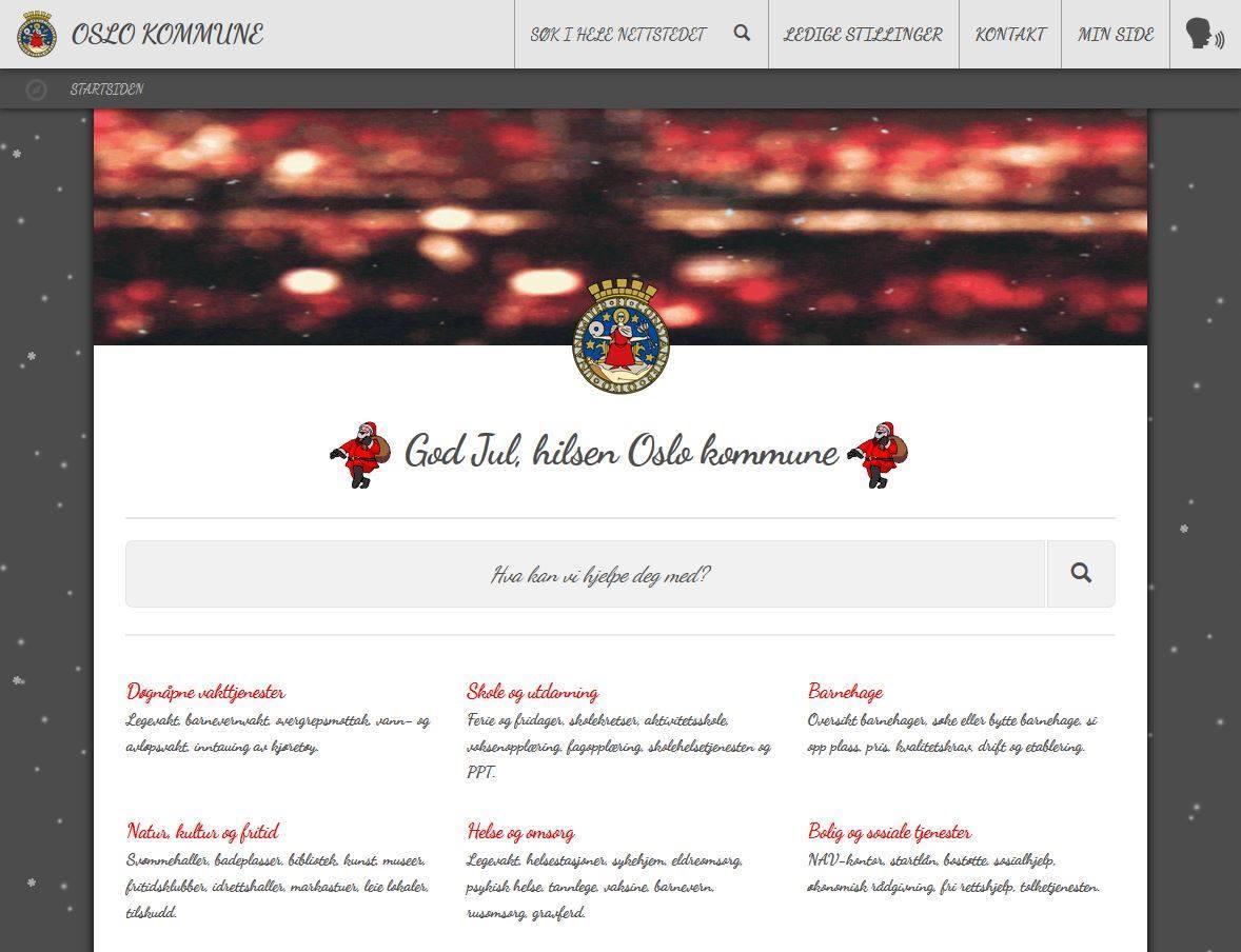 Juledesign på nettsidene (kun på testområdet)